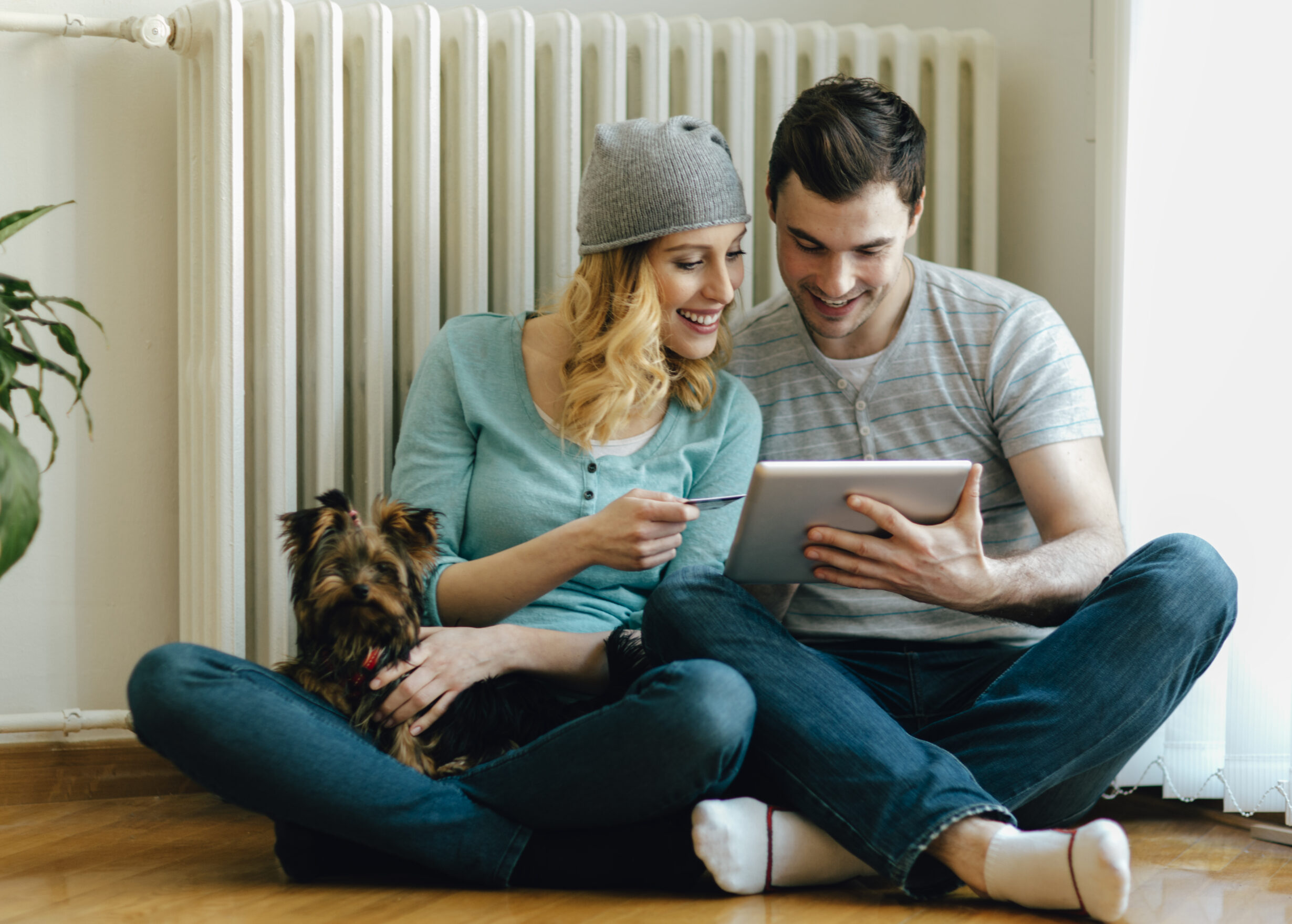 Young Couple Sitting On Floor in a living room at home and shopping online with digital tablet. Smiling woman with hat holding credit card, and man holding tablet and their cute dog on the lap. Their dog is female puppy of Yorkshire Terrier.